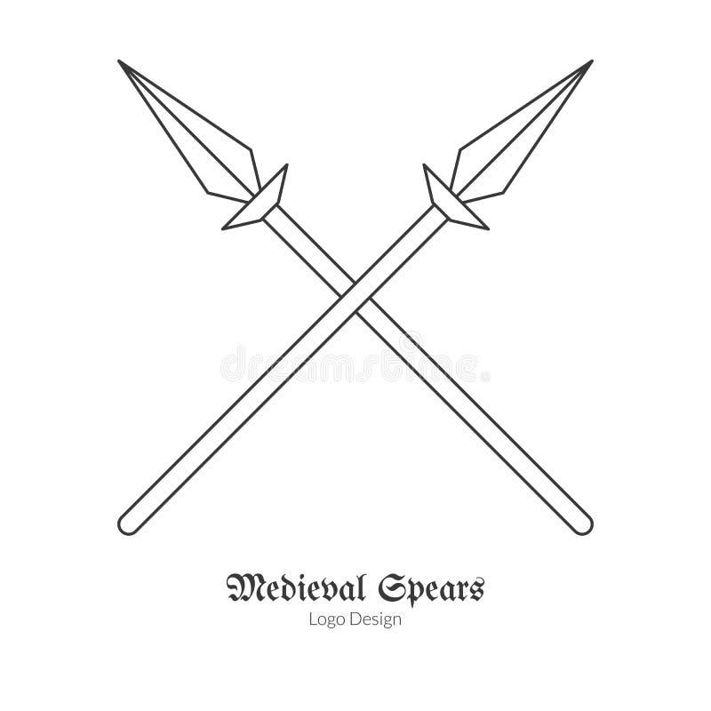 Medeltida logoemblemmall med översiktssymbolen vektor illustrationer