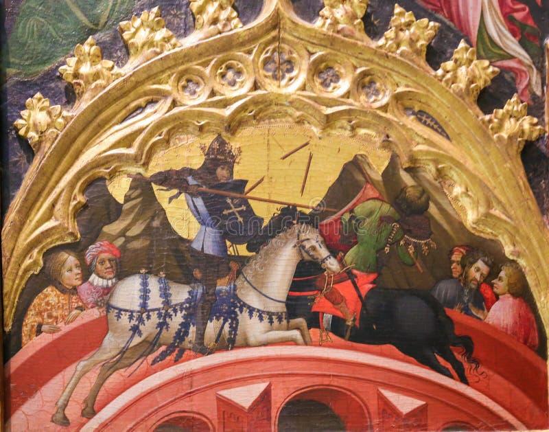 Medeltida målning av en turnering mellan riddare royaltyfri foto