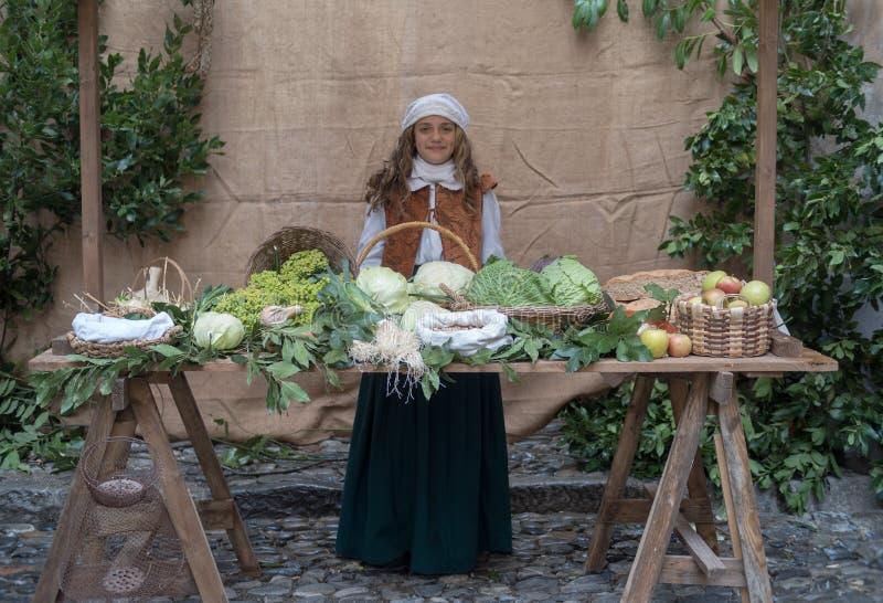 medeltida marknad arkivfoto