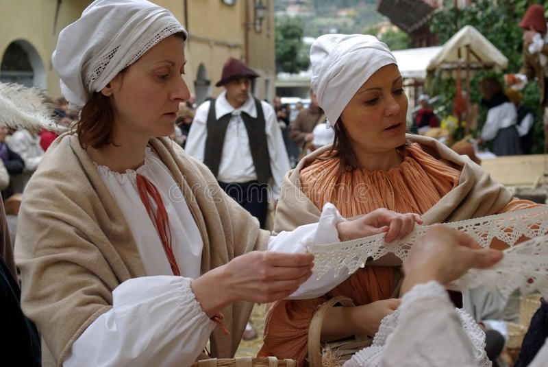 medeltida marknad royaltyfria foton