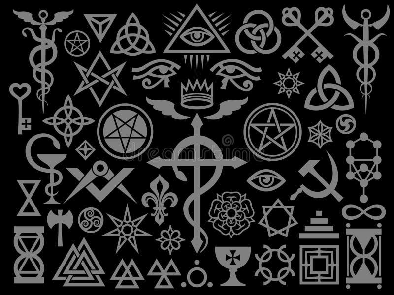 Medeltida ockult tecken och magisk upplaga för stämpelsilversvart royaltyfri illustrationer