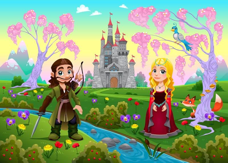 Medeltida par i ett landskap med slotten vektor illustrationer