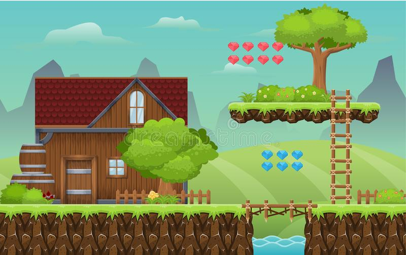 Medeltida by Platformer Tileset royaltyfri illustrationer