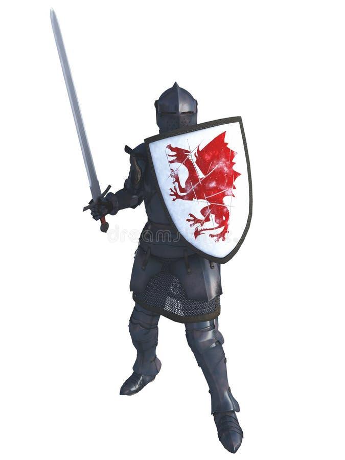 Medeltida riddare med röda Dragon Shield royaltyfri illustrationer