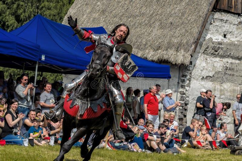 Medeltida riddare på hästrygg royaltyfri fotografi