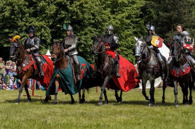 5 medeltida riddare på hästryggar arkivbilder