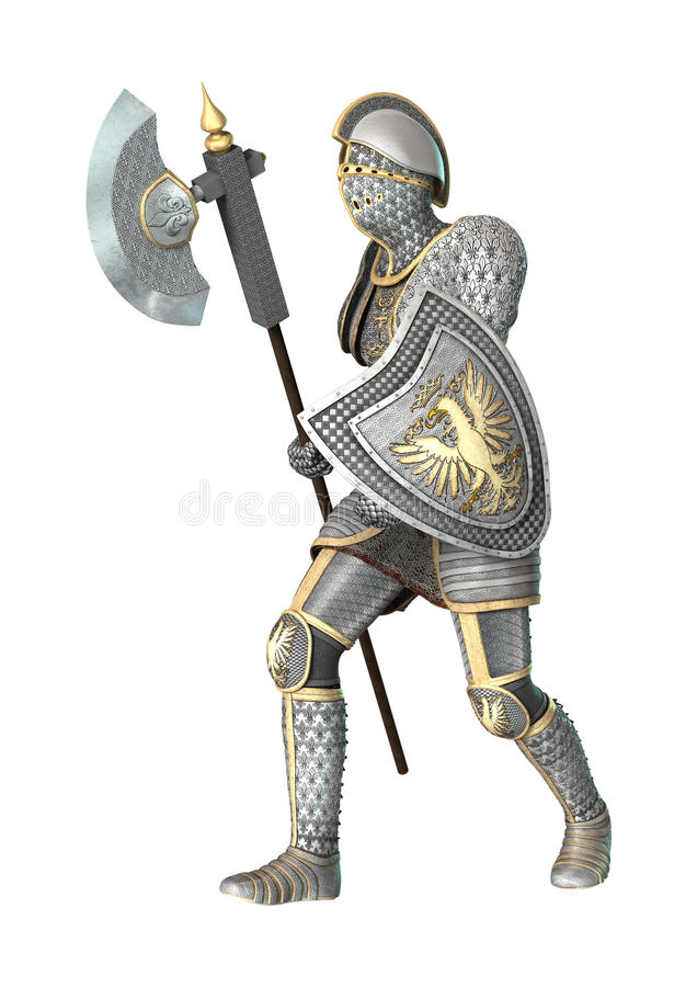Medeltida riddare på vit royaltyfri illustrationer