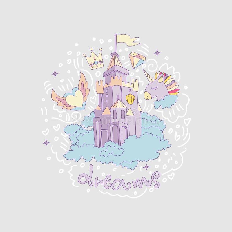 Medeltida rolig slott för tecknad film med flagga- och molnbegrepp Magisk tecknad filmslott för prinsessa från sagasymbol roligt vektor illustrationer