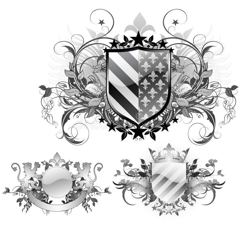 medeltida sköldar royaltyfri illustrationer