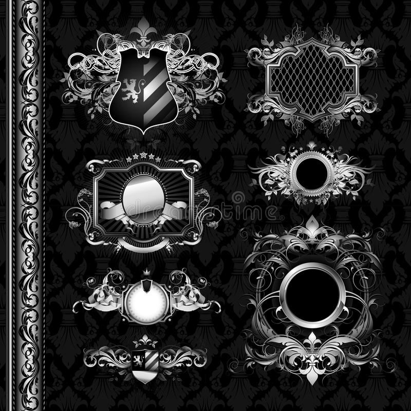 medeltida sköldar för heraldik royaltyfri illustrationer
