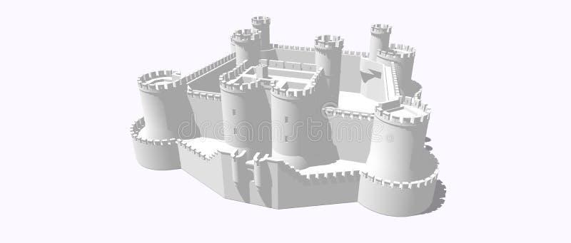 medeltida slott vektor illustrationer