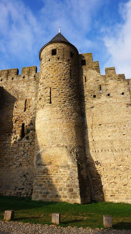 Medeltida slott av Carcassonne, Frankrike fotografering för bildbyråer