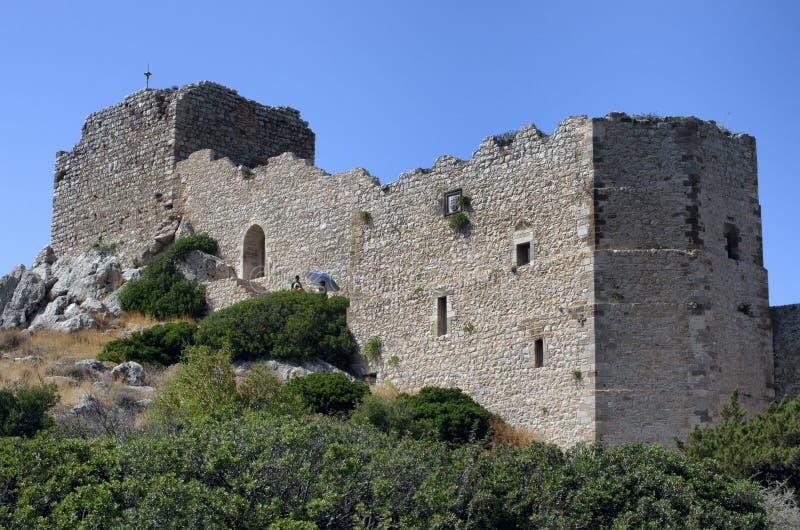 Medeltida slott av Kastellos i Kritinia arkivbilder