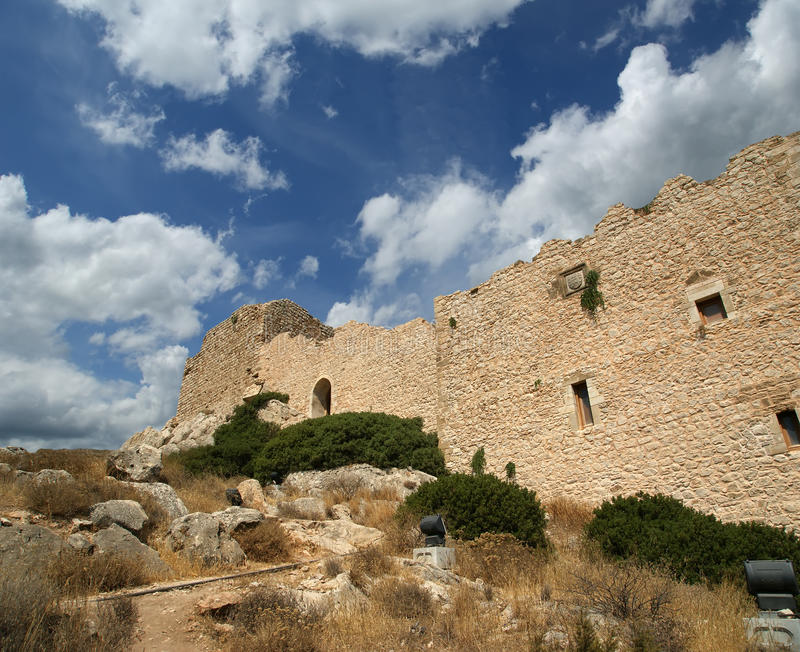 Medeltida slott av Kritinia i Rhodes Greece, Dodecanese arkivbild