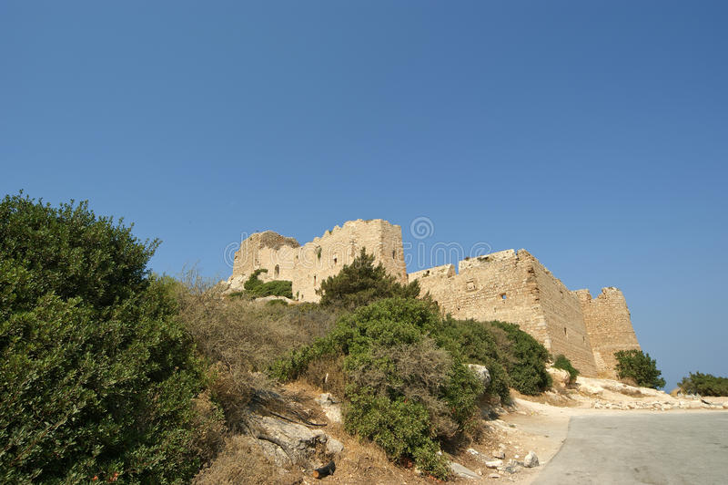 Medeltida slott av Kritinia i Rhodes Greece, Dodecanese arkivfoton