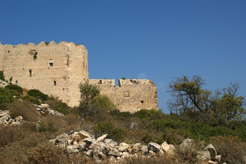 Medeltida slott av Kritinia i Rhodes Grekland royaltyfria foton