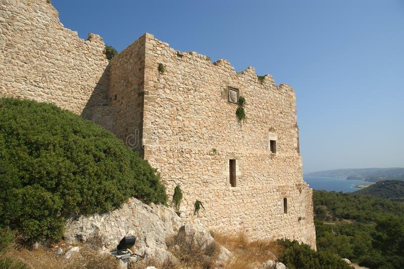 Medeltida slott av Kritinia i Rhodes Grekland, royaltyfria foton