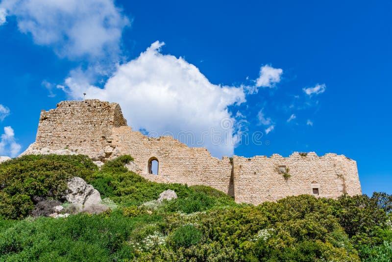 Medeltida slott av Kritinia Kastellos, Rhodes ö, Grekland arkivbild