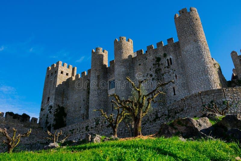 Medeltida slott av Obidos Castelo de Obidos arkivfoto