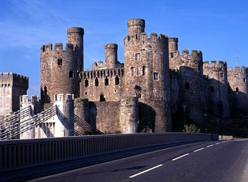 Medeltida slott, Conway, Wales. royaltyfri bild