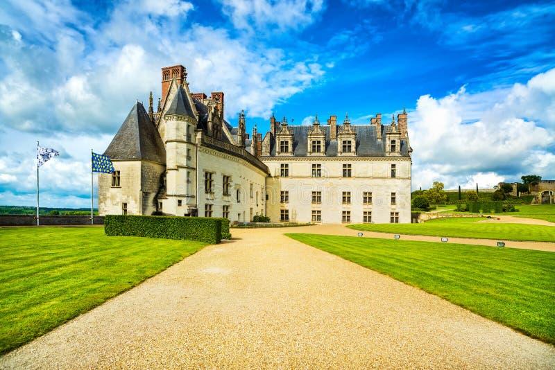 Medeltida slott för Chateaude Amboise, Leonardo Da Vinci gravvalv Loir royaltyfri fotografi
