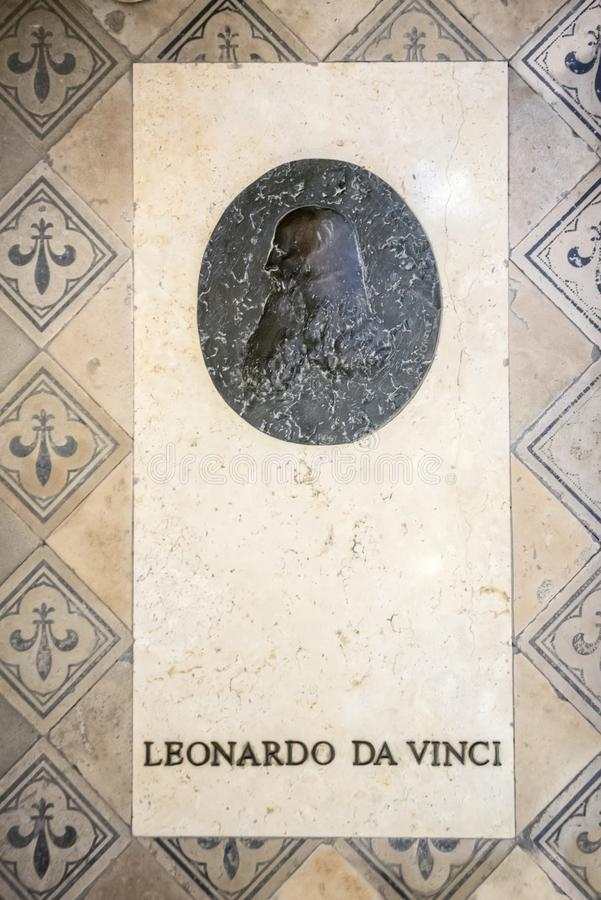 Medeltida slott för Chateaude Amboise, Leonardo Da Vinci gravvalv Loire Valley Frankrike, Europa Lång exponering arkivbilder
