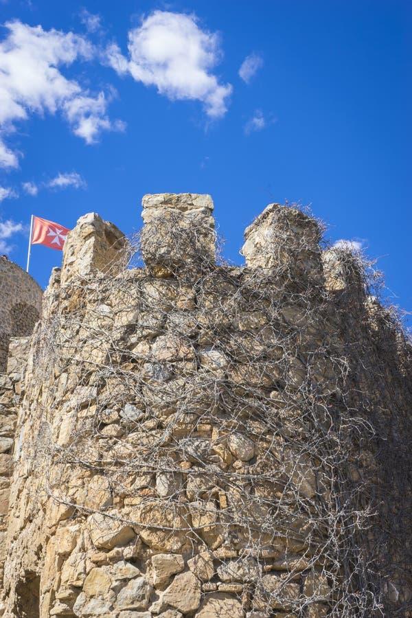 medeltida slott för fästning av Consuegra i landskapet av Toledo, arkivbilder