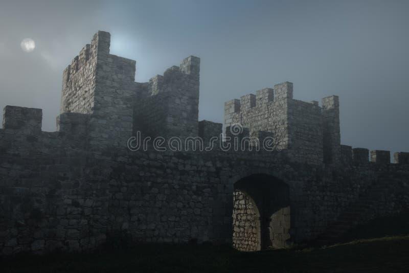 Medeltida slott i en dimmig fullmånenatt arkivfoton