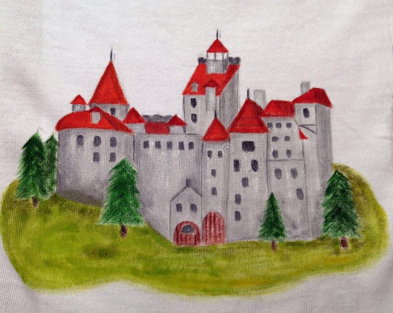 Medeltida slott - målad illustration royaltyfria bilder