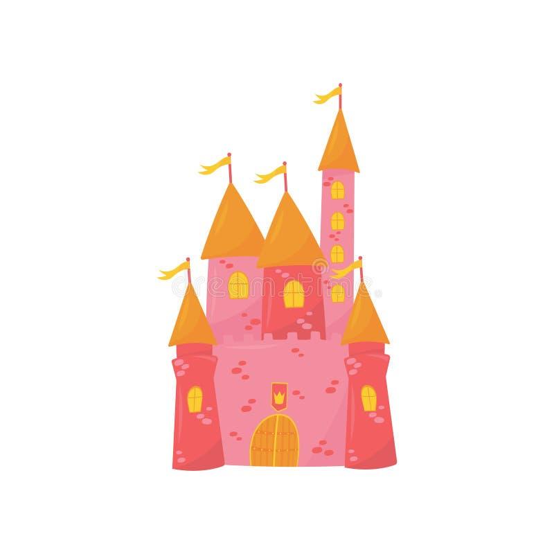 Medeltida slott med att flankera torn, träporten och flaggor på det koniska taket Rosa prinsessaslott Sagabyggnad stock illustrationer