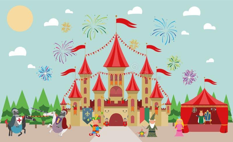 Medeltida slott med tecken (konung, prinsessa, trollkarl, riddare och gyckelmakare) och fyrverkerier royaltyfri illustrationer