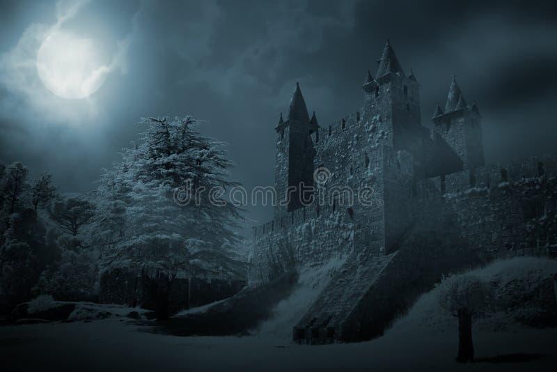 Medeltida slott på natten royaltyfri bild