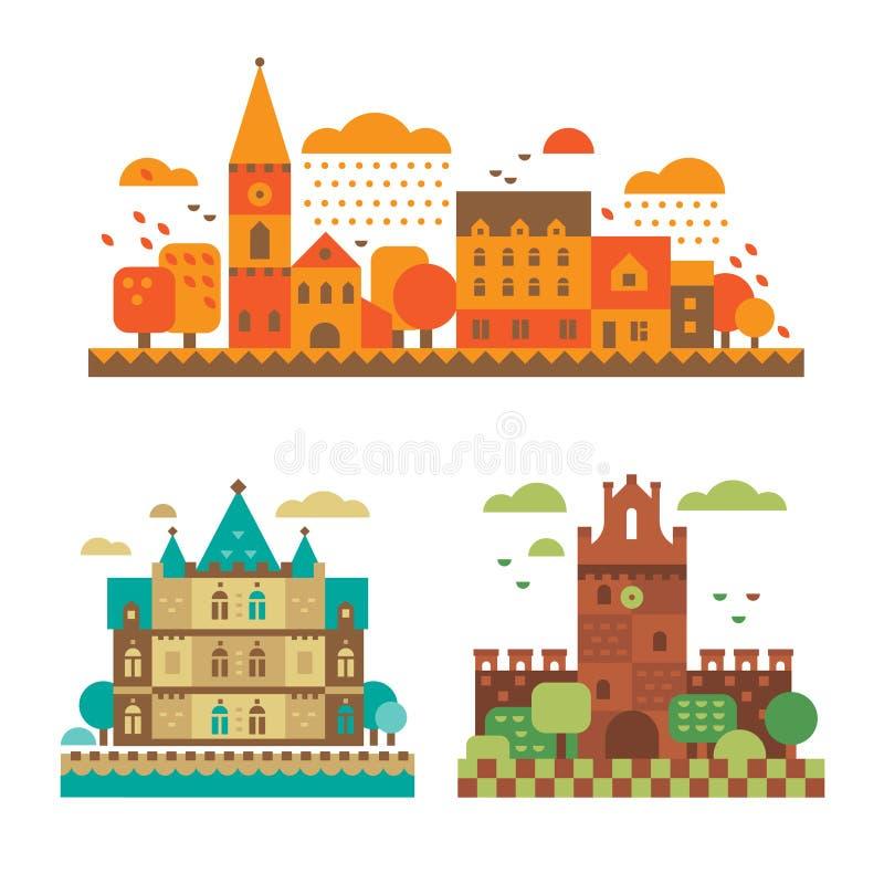 Medeltida slottar i nedgången vektor illustrationer