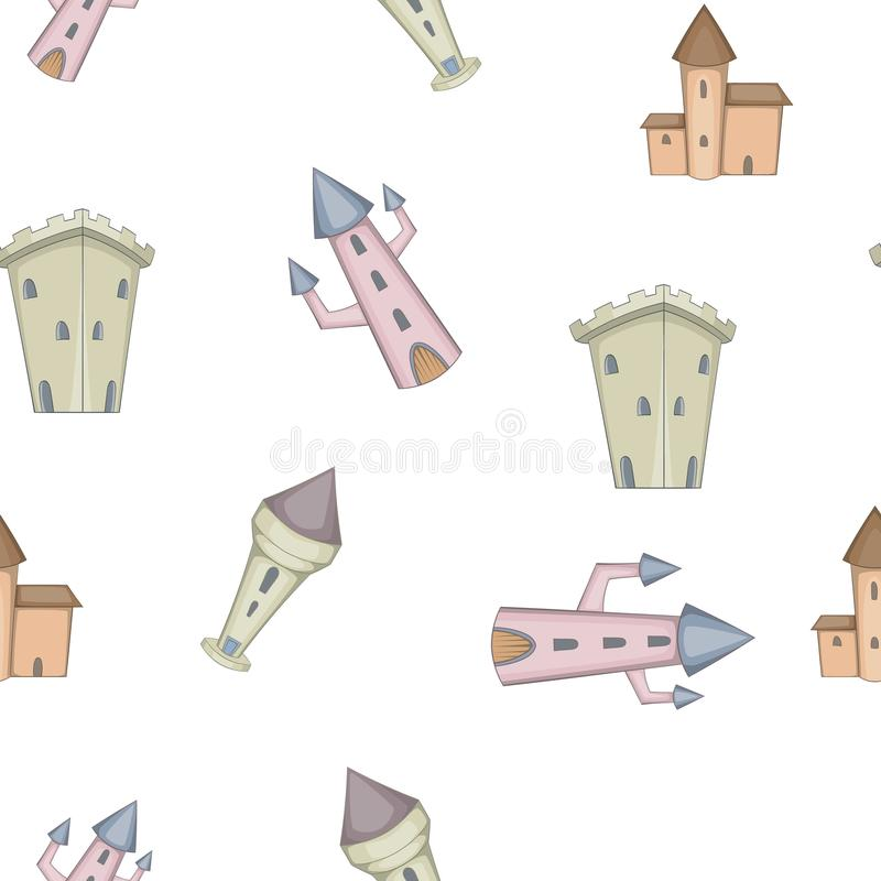 Medeltida slottar modell, tecknad filmstil vektor illustrationer
