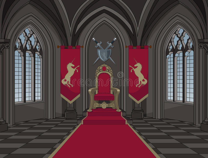 Medeltida slottbiskopsstolrum vektor illustrationer