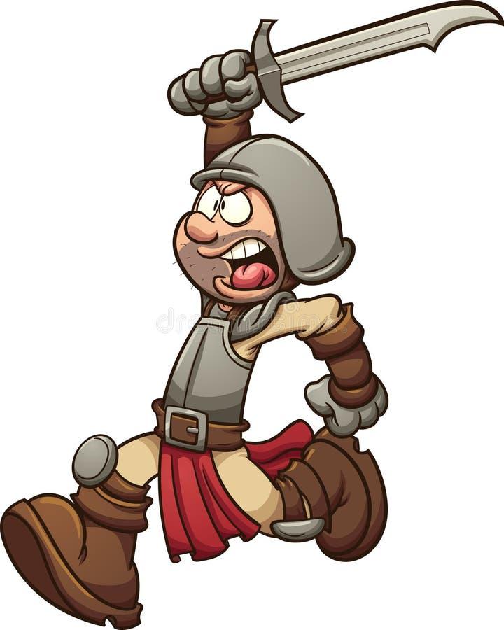 medeltida soldat stock illustrationer