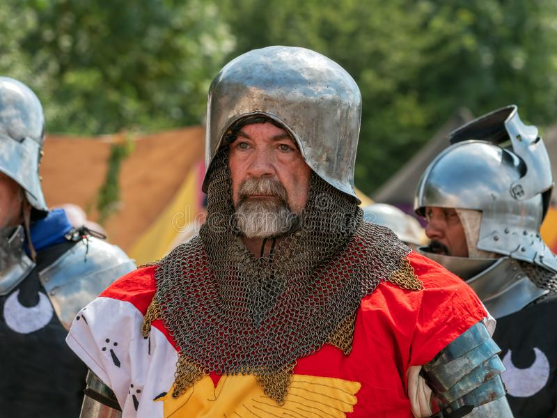 Medeltida soldat Portrait, Tewkesbury medeltida festival, England royaltyfria bilder