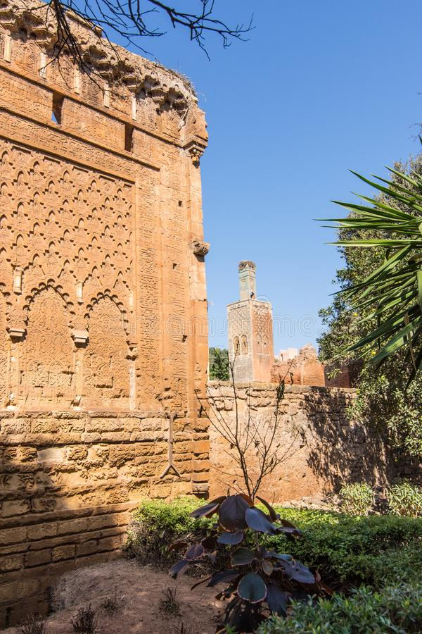Medeltida stärkt muslimsk nekropol som lokaliseras i Rabat arkivbilder