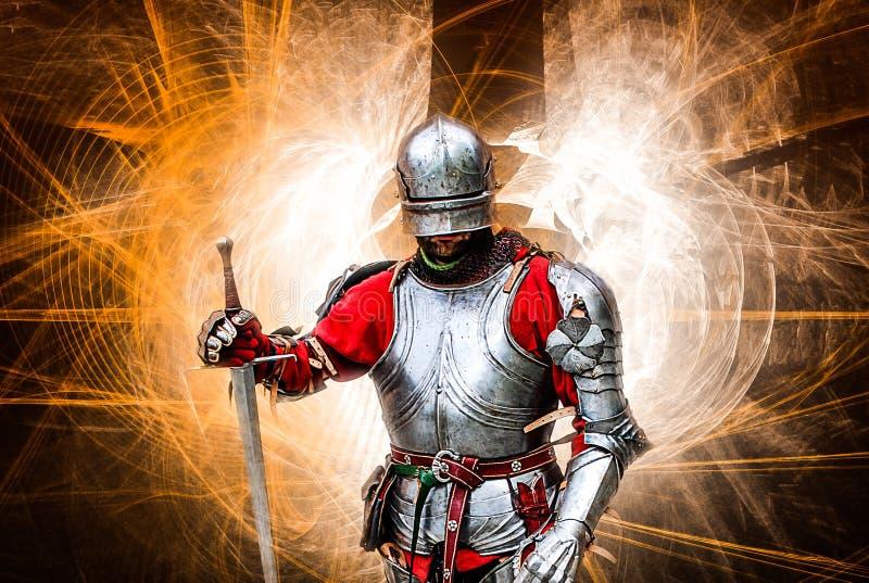 medeltida stående för riddare arkivbild