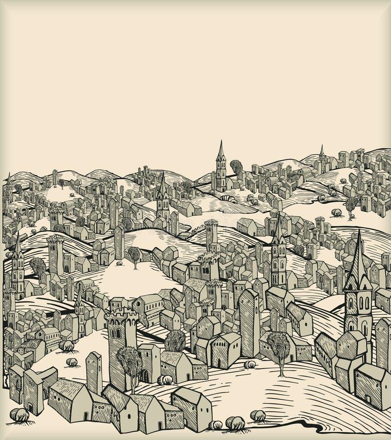 medeltida stad vektor illustrationer