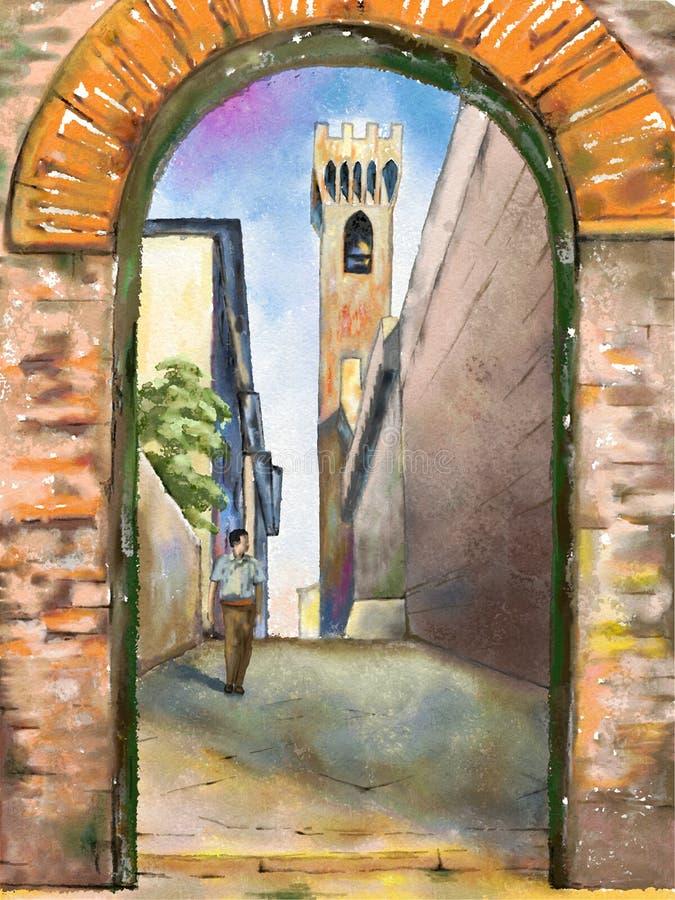 medeltida stad stock illustrationer