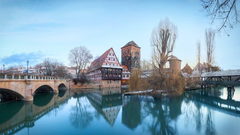 Medeltida stad Nuremberg, Tyskland arkivbild