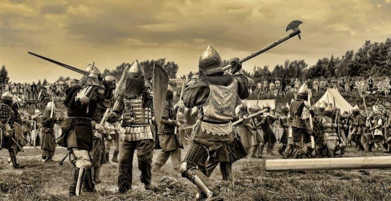 medeltida strid royaltyfria bilder