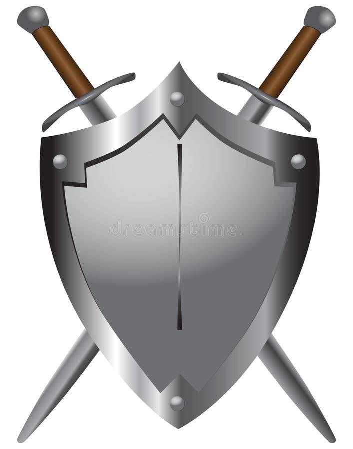 Medeltida svärd med skyddar royaltyfri illustrationer