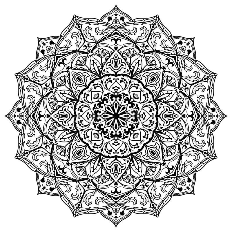 Medeltida svartvit mandala royaltyfri illustrationer