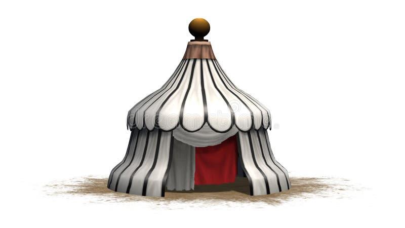 Medeltida tält för antik runda på ett sandområde stock illustrationer