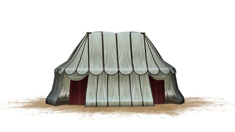 Medeltida tält på ett sandområde royaltyfri illustrationer