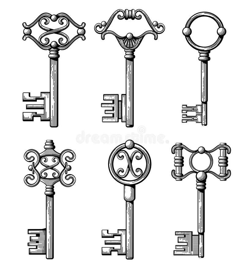 Medeltida tangenter för tappning, antik chavesvektorillustration stock illustrationer