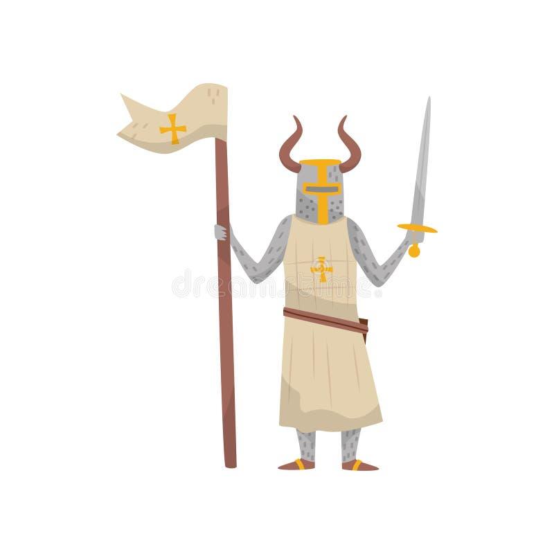 Medeltida tecken för Templar bepansrat riddarekrigare med flagga- och svärdvektorillustrationen på en vit bakgrund royaltyfri illustrationer