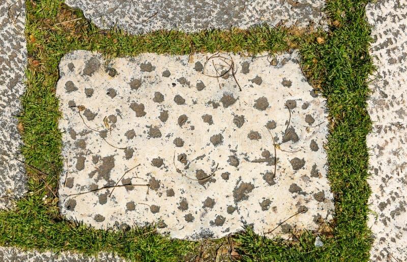 Medeltida tegelplattor för smutsig för granitterrass för yttersida gammal slott arkivbilder